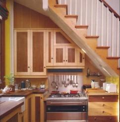Small kitchen under the stairs