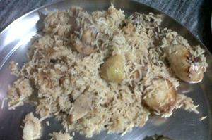 A dish of Yakhni rice, recipe from Mughal cuisine