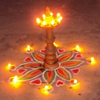 Earthen Lamps Decoration for Diwali