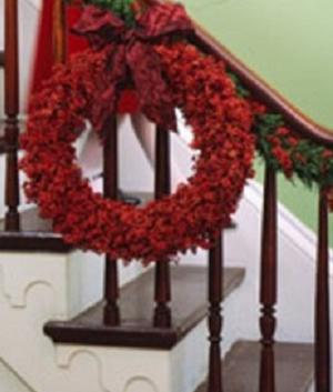 read flower wreath for christmas decoration