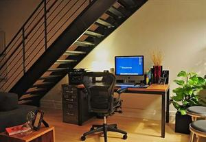 Work space under the stairs